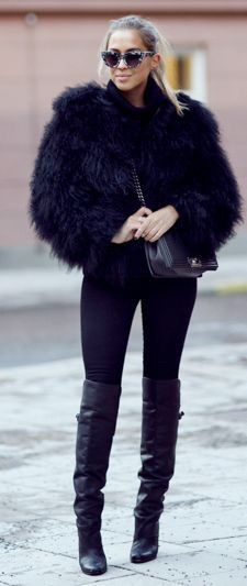 Black fur jacket, leggings, black thigh high boots | Black faux .