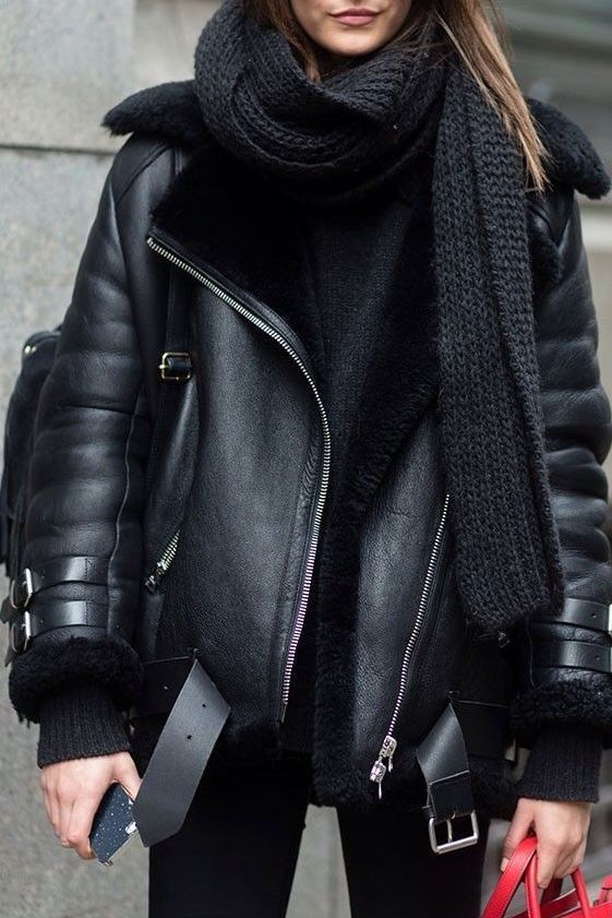 Black Shiny Faux Leather @jyrbrn in 2020 | Fashion, Winter fashion .