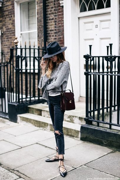 sweater tumblr grey sweater felt hat hat black hat jeans denim .