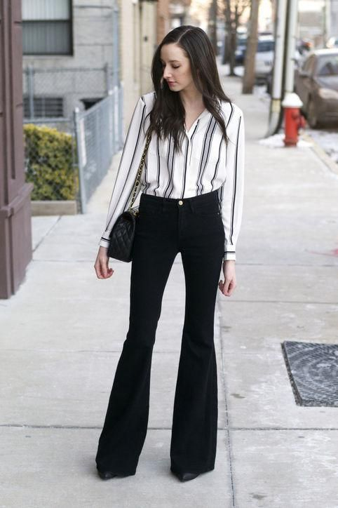 50 Cute New Ways to Wear Black and White | Flare jeans outfit .