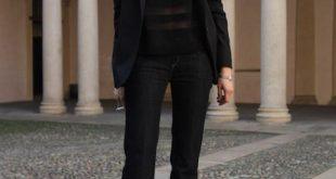 Flare Jeans Outfit Ideas - fall / winter - black blazer - dark .