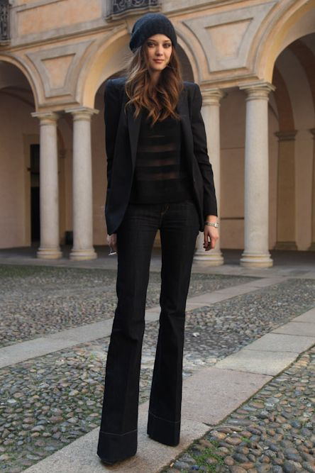 Flare Jeans Outfit Ideas - fall / winter - black blazer - dark .