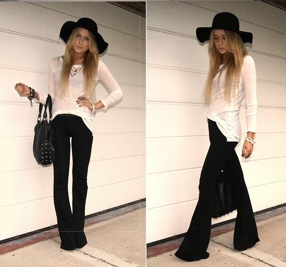 Stretchy black flare pants, floppy hat and semi-sheer long sleeve .