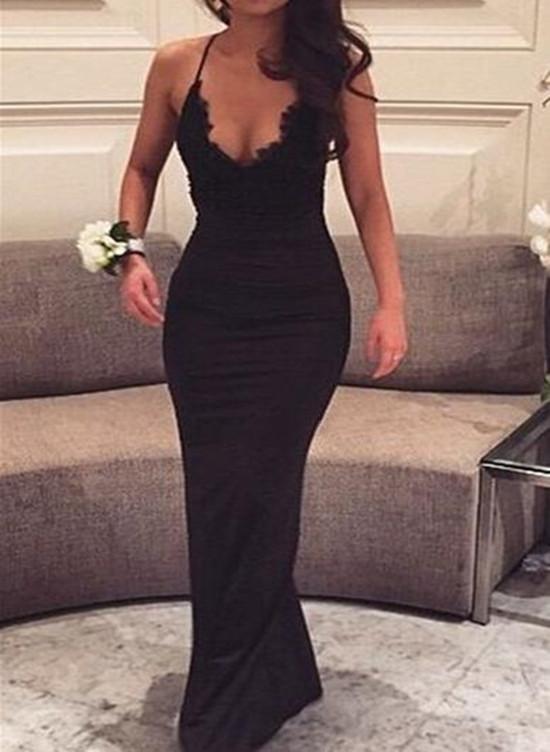 Sexy Black Party Dress, Halter V-neckline Formal Dress, Floor .