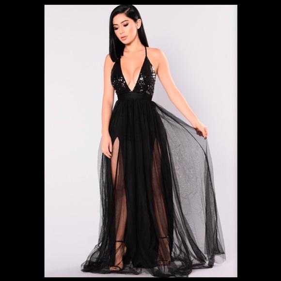 Fashion Nova Dresses | Black Floor Length Sequin Dress | Poshma