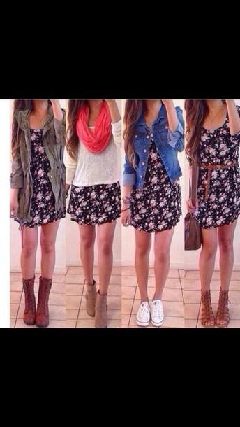 dress, floral, black, outfit idea, heels, floral dress, fashion .
