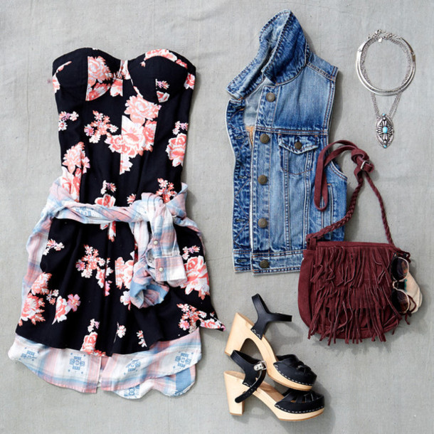 dress, floral dress, outfit, floral, cute dress, cute, black and .