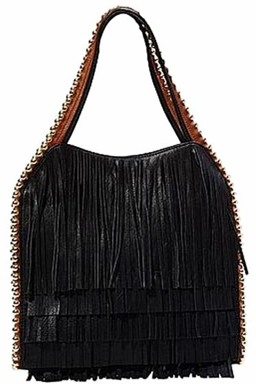 Big Buddha Gracie Black Fringe Handbag | Black fringe handbag .