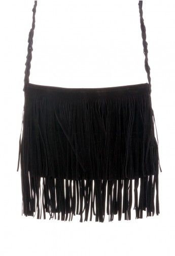 Black Fringe Knit Strap Shoulder Bag | Black fringe bag, Fringe ba