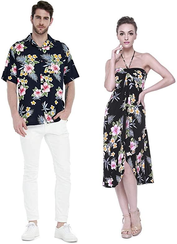 Couple Matching Hawaiian Luau Cruise Party Outfit Shirt Dress in .