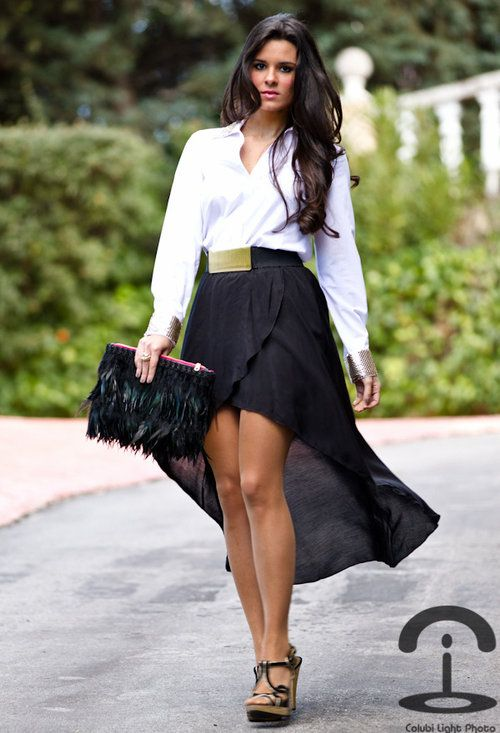 Black hi-low skirt + white blouse...The belt makes this outfit .