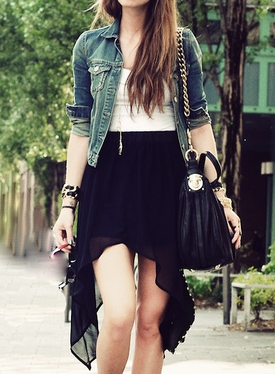 Black High Low Skirt Outfit Ideas - Best Photos Skirt and Bag .