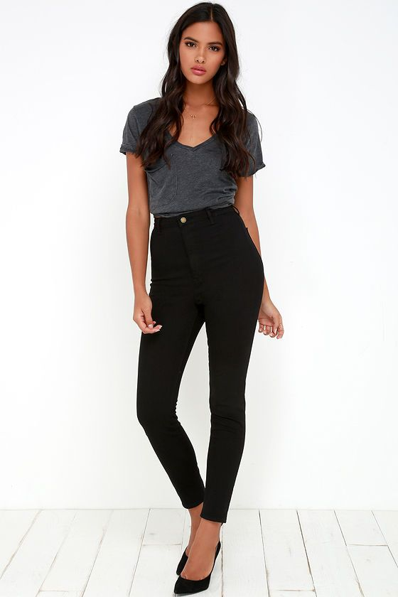 Rollas Scorpion Black High-Waisted Jeans | High waisted black .