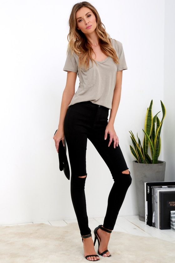 Cool Black Jeans - High-Waisted Skinny Jeans - Ripped Jea