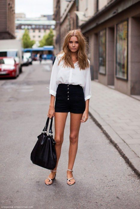 40 Cute High Waist Shorts Ideas For Spring/Summer 2017 | Fashi