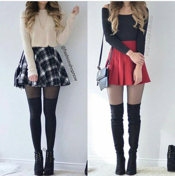 skirt, skater skirt, mini skirt, high waisted skirt, plaid skirt .