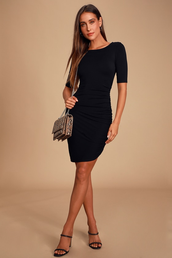 Chic Black Dress - Bodycon Dress - Jersey Knit Dress - L