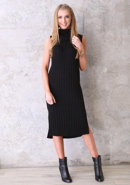 dress, black, mid length, knit, sleeveless, turtleneck - Wheretog