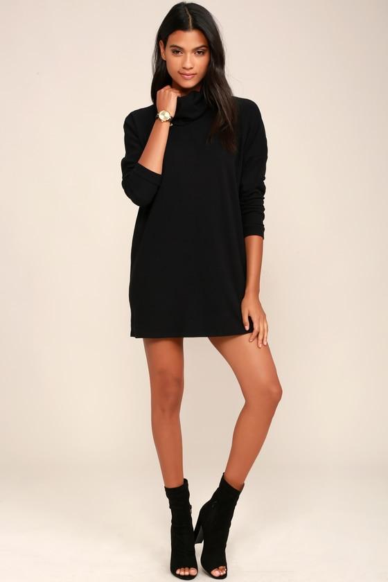 Black Dress - Turtleneck Dress - Long Sleeve Dress - Knit Dress .