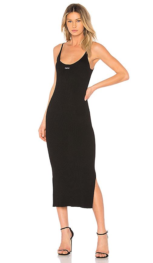 OFF-WHITE Midi Knit Dress in Black & White | REVOL