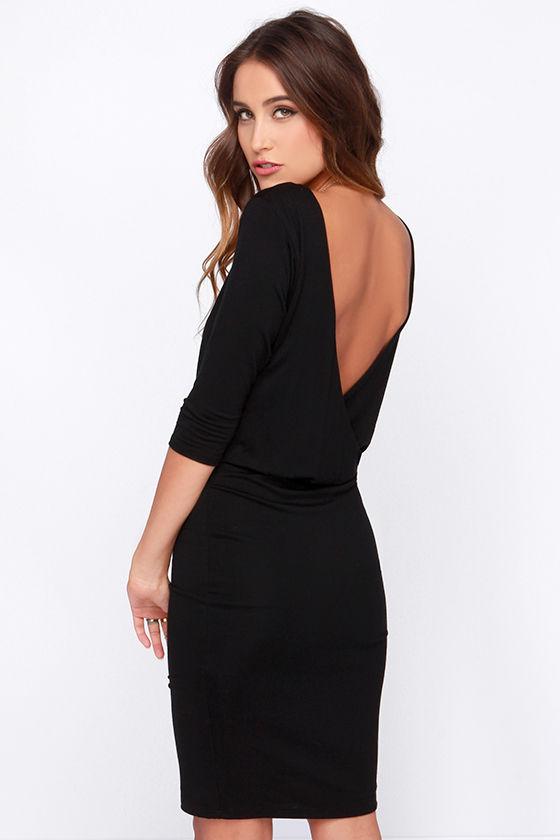 Chic Black Dress - Jersey Knit Dress - Backless Dress - $38.