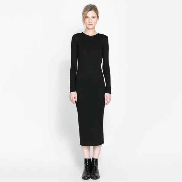 Zara Dresses | Black Knit Wide Rib Midi Crew Sweater Dress M .