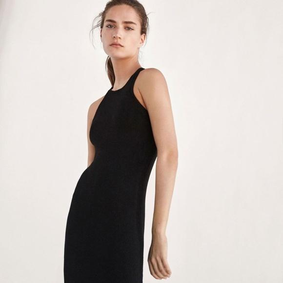 Massimo Dutti Dresses | Black Knit Dress Crossover | Poshma