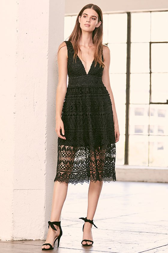 How to Style Black Lace Midi Dress: Top 13 Elegant Outfit Ideas .