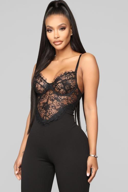 Just A Hint Lace Jumpsuit - Black in 2020 | Black lace jumpsuit .