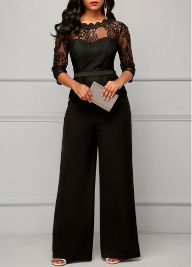 Black Peplum Waist Scalloped Neck Lace Jumpsuit Peplum Waist .