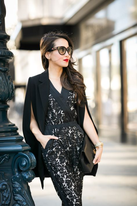 Caped Crusader :: Lace jumpsuit & Black cape blazer | Lace .