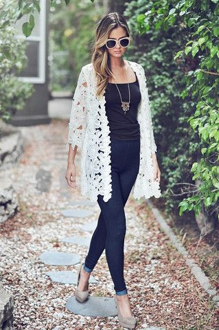 Lace Kimonos dress up any outfit — from tanks and shorts, to a .