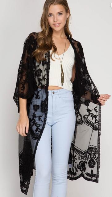 Lace duster kimono | Black lace kimono, Lace kimono, Black lace .
