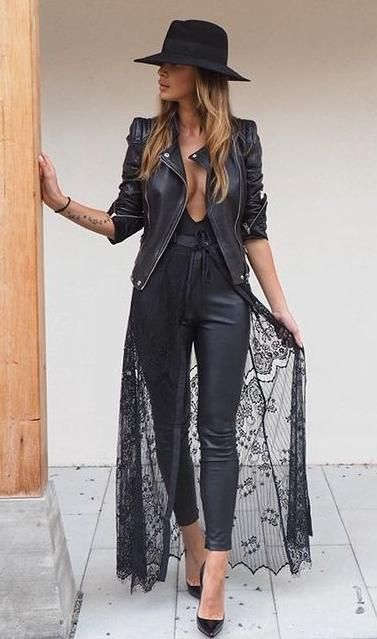 lace + leather. hat. biker jacket. kimono. | Fashion, All black .