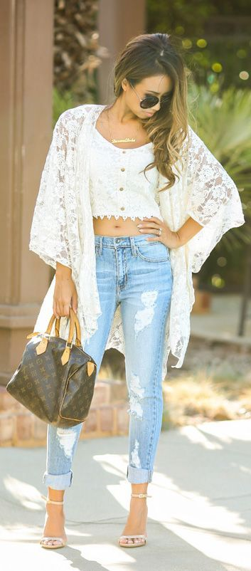 1000+ ideas about Lace Kimono Outfit on Pinterest | Blue Sweater .