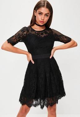 Black Lace Midi Dress + Black + Little Black Dress +Formal + Prom .