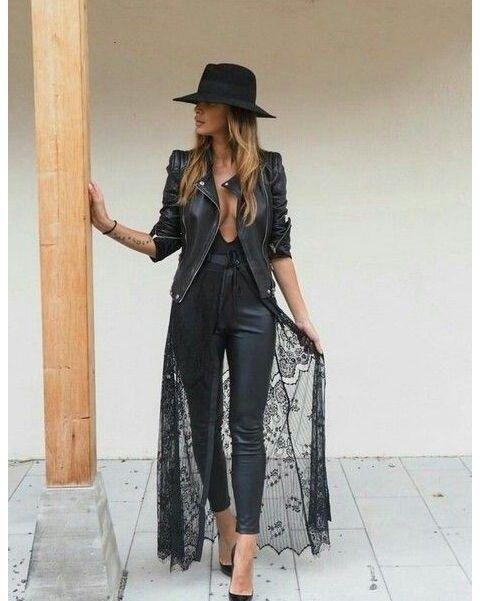 All-black outfit mood. #Edgy #Rocker Black Hat | Black Deep V Body .