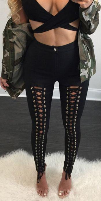Gothic Punk Style Lace Up Stretchy Skiny Pants | Punk fashion .
