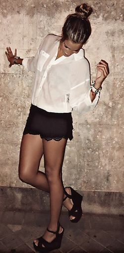 Black lace shorts outfit | Lace short outfits, Fashion, Black lace .