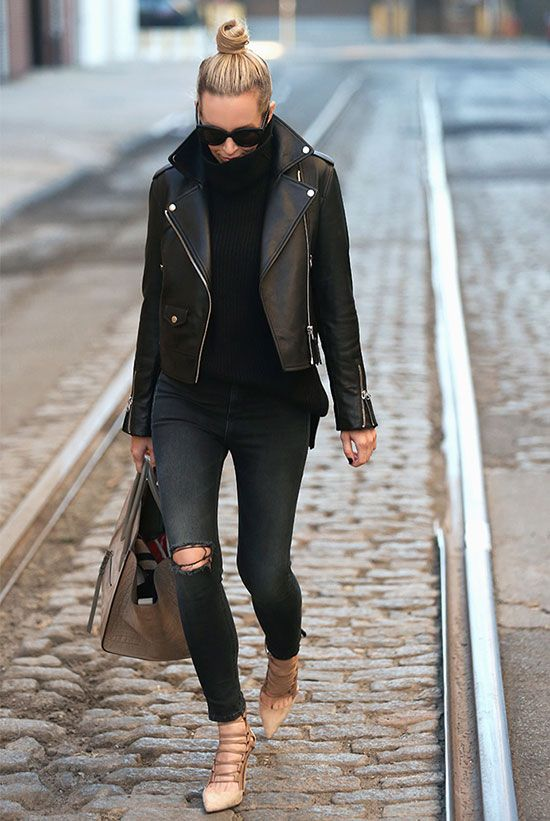The Best Outfit Ideas Of The Week | Black leather jacket outfit .
