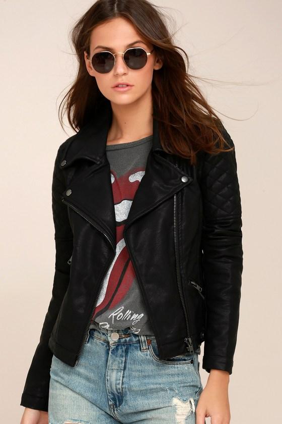 Chic Black Vegan Leather Jacket - Black Moto Jack