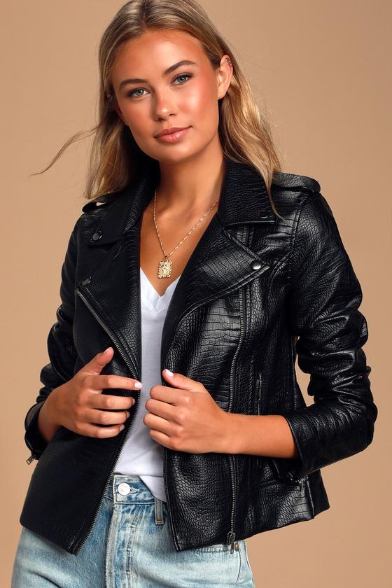 BB Dakota Lucky Lizard - Vegan Leather Jacket - Black Moto Jack