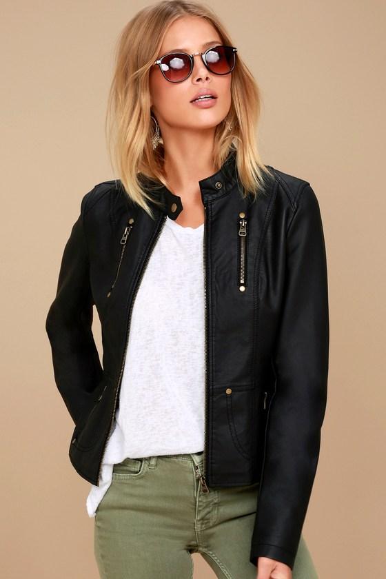 Chic Black Jacket - Moto Jacket - Vegan Leather Jacket - $74.