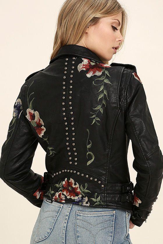Blank NYC Black Embroidered Vegan Leather Moto Jacket | Vegan .