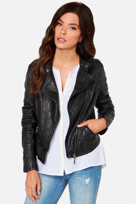 Black Swan Heart Jacket - Black Vegan Leather Moto Jack