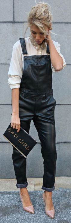 12 Best Leather Overalls images | Leather overalls, Overalls, Fashi