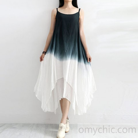 Beautiful asymmetric Gradient color linen dress Work Outfits black .