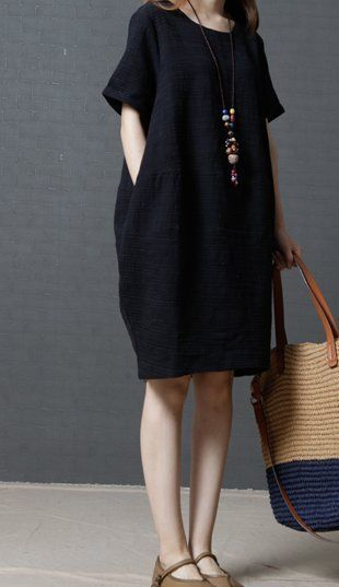 Women loose plus size maternity cotton linen dress pocket black .