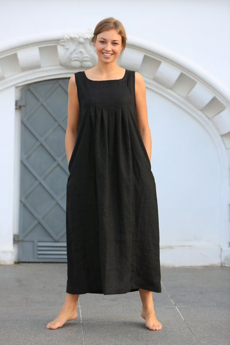 Maxi linen dress, Long White linen dress, Washed black linen dress .