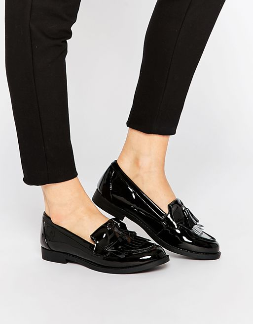 new look black flatforms, New Look Patent Loafers Black Women .